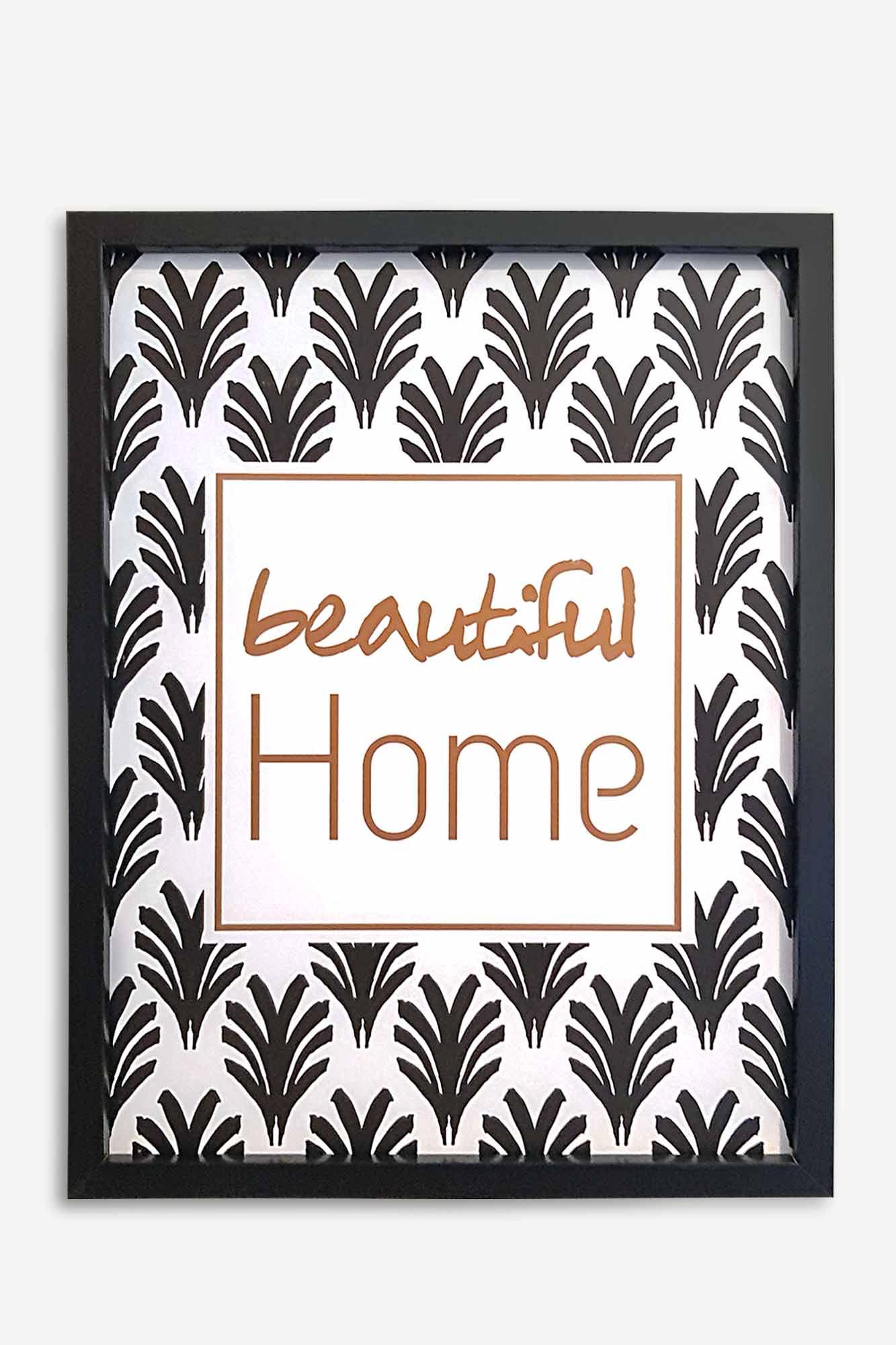 cadre décoratif noir avec motif beautiful home