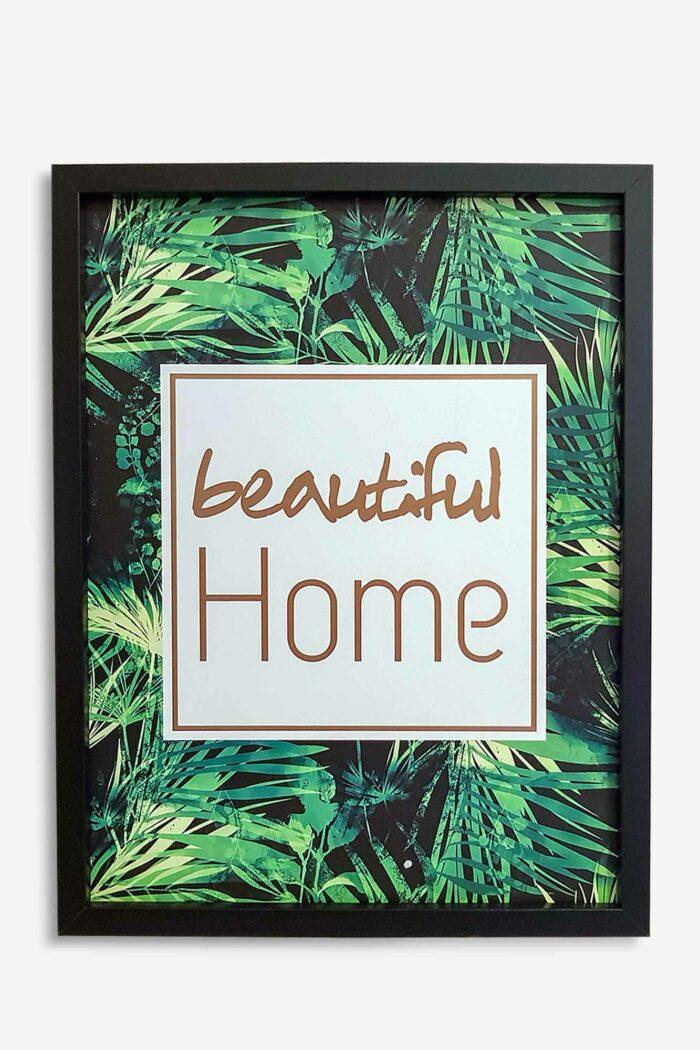 cadre décoratifs vert avec motif beautiful home