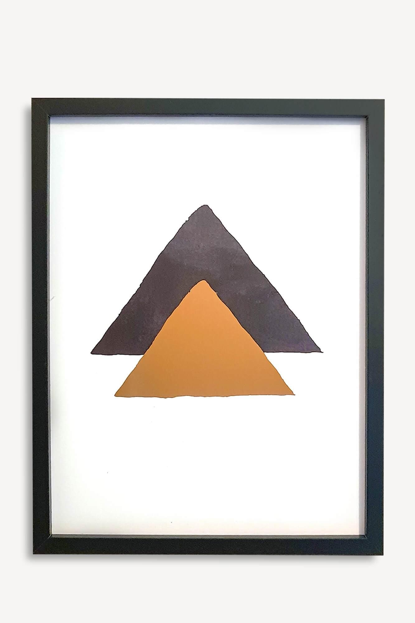 cadre décoratif noir et doré avec motifs triangles