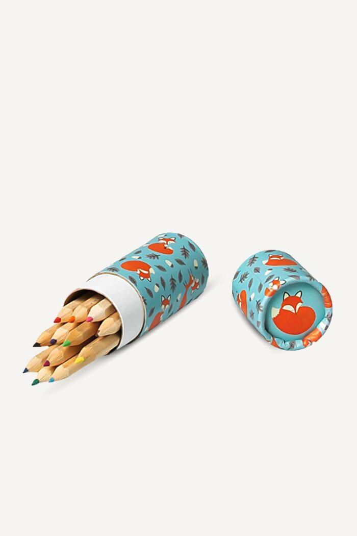 """crayons de couleurs """"Rusty the fox"""" avec étui ouvert"""