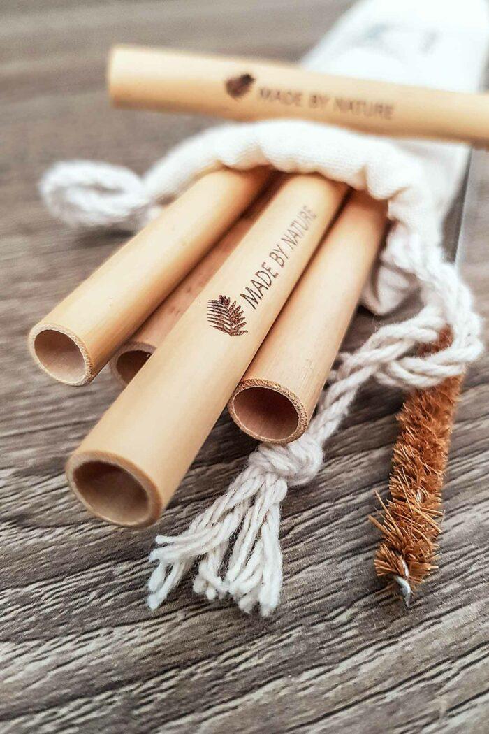 lot de 6 pailles en bambou avec pochon