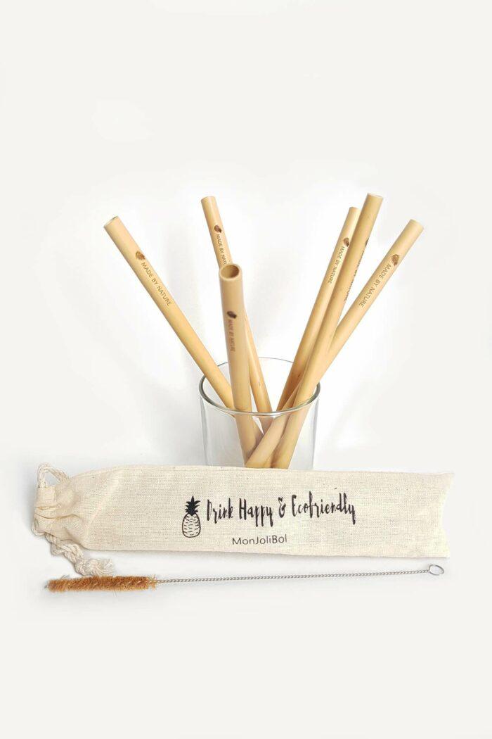 lot de 6 pailles en bambou de la marque monjolibol