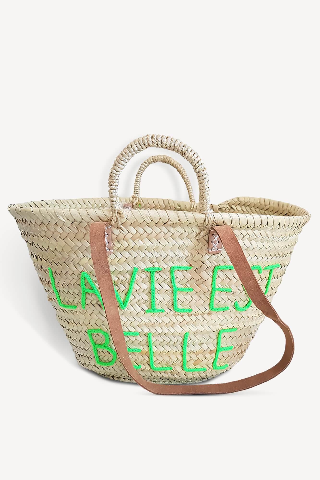 panier de plage avec motif en tricotin la vie est belle vert
