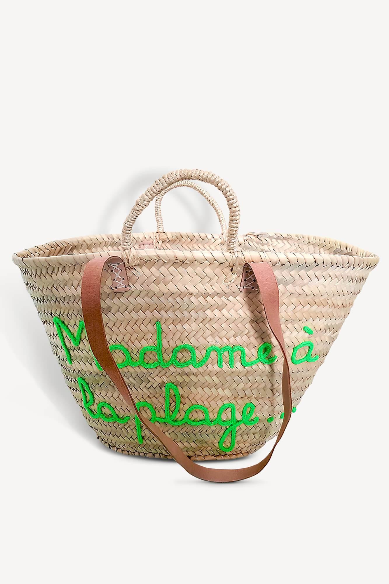 panier de plage avec motif en tricotin madame à la plage vert