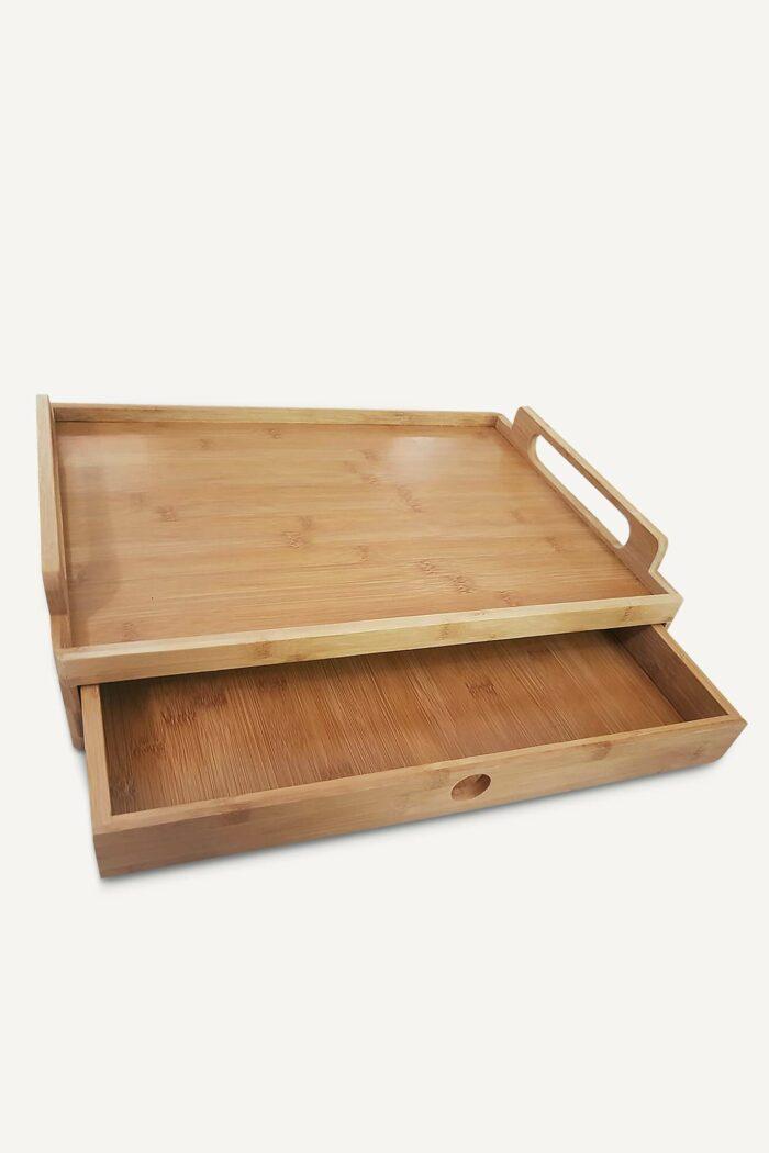 plateau de service en bambou équipé d'un tiroir