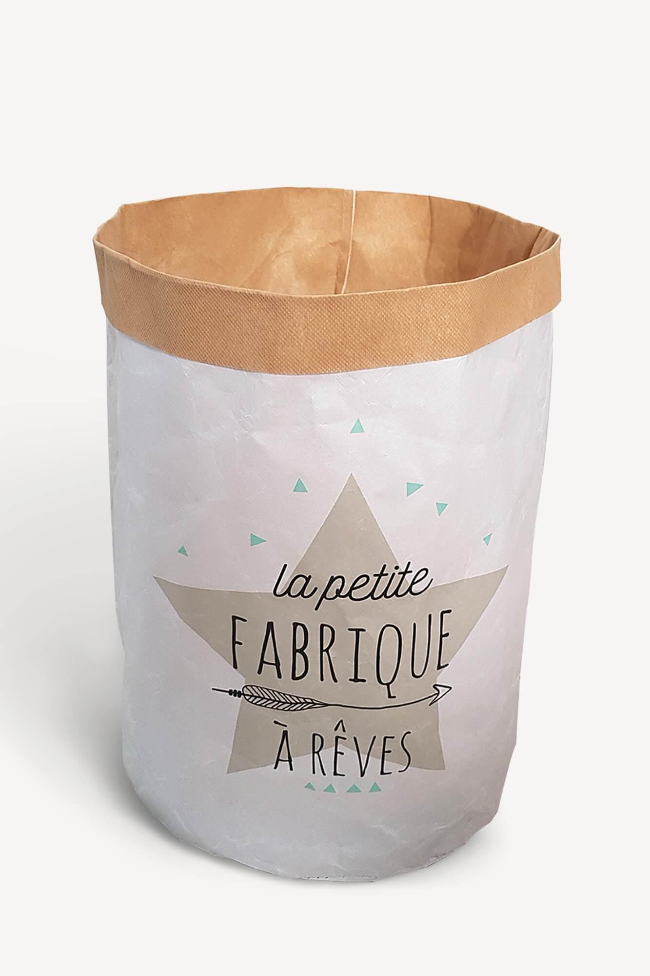 """sac de rangement décoratif en carton avec motifs imprimés """"la petite fabrique à rêves"""""""
