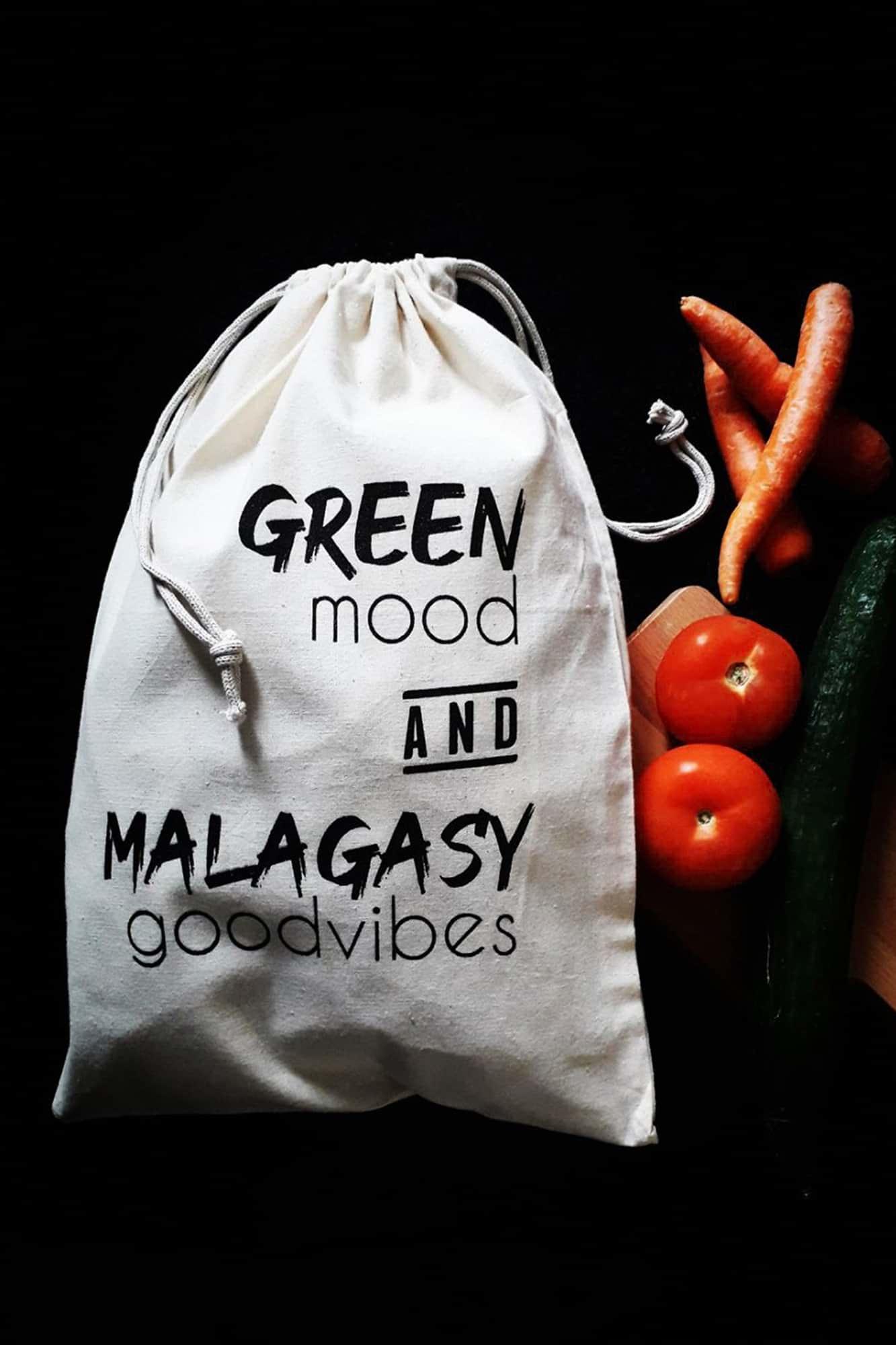 Lot de 3 sacs à vrac 100 % coton et sérigraphiés de la marque Ravinala Design